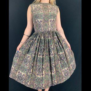 50s/60s Handmade Abstract Print Cotton Day Dress